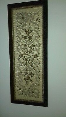 Exquisite silk panel (Chinese?) in antique frame