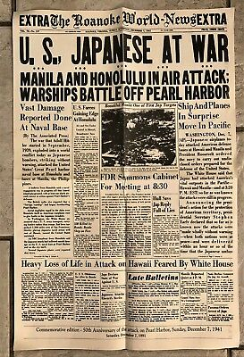 Commemorative Newspaper Reprint - 50th Anniversary of the Attack on Pearl Harbor