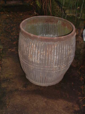 VINTAGE GALVANISED DOLLY TUB RIBBED DESIGN with 3 RINGS Great Condition PLANTER