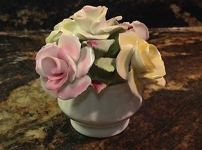 Hand Crafted Royal Stratford  Bone China Bouquet Of Roses In Vase Staffordshire