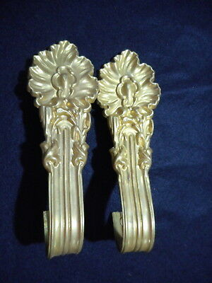 Pair of Antique Vintage Brass Curtain Tie Backs Hardware Victorian Federal Nice