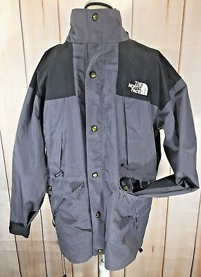 Men's Vintage The North Face Gore-Tex Jacket Coat Gray Black 2 In 1 Large