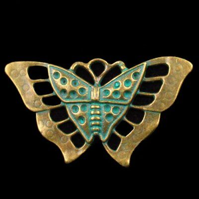 N39373 Carved Brass Bronze Butterfly Pendant Bead 55x35x1mm