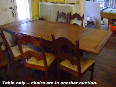 Vintage dining room table, 8' long extended, detailed carvings, antique table