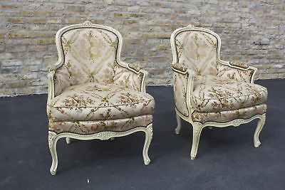 Pair Of Antique French Louis Xv Arm Chairs Ca 1930