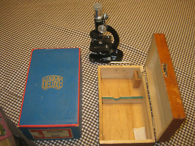 Vintage TASCO 600X Microscope with Wooden Box, directions, extra slides 50-60s