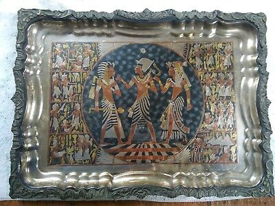 Antique Silver/Copper/Brass Inlaid Egyptian Bronze Wall Plaque~