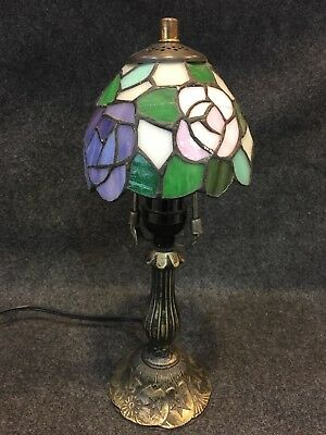 Antique Desk Table Lamp Tiffany Style Stained Glass Shade Accent Lighting 14""