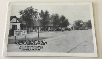Rppc Corbin, Ky. 30's Pc Yeary's Tourist Court Servive Station Cafe