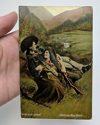 Lovers of All Nations American Wild West Postcard c. 1908 Posted Guns Cowboy