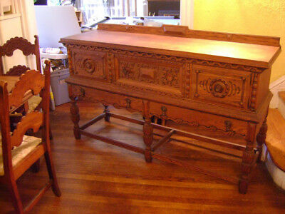 Vintage dining room hutch / buffet table. Antique wood dining room furniture