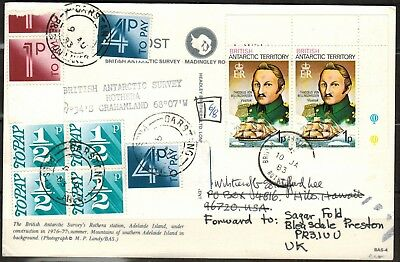 B.A.T. Postal Card to UK with British Postal Due Stamps