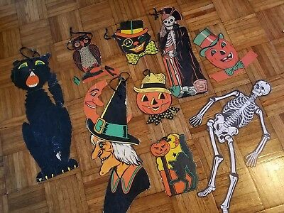 Vintage Halloween Lot, 1940s & 1950s Cat by Luhrs, Skeleton, Witch, Owl, Die Cut