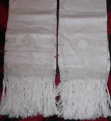 Pair of Antique Homespun Linen Towels with Filet Lace & Fringe
