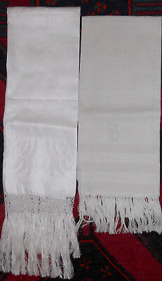 2 Antique Linen Towels with Fringe One with Monogram