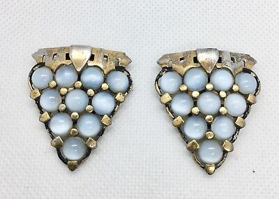 Art Deco Blue MoonGlow Glass Dress Clips Vintage Jewelry