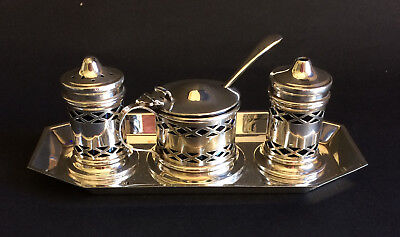 Vintage Silver-Plated Condiment Set With Blue Glass Liners