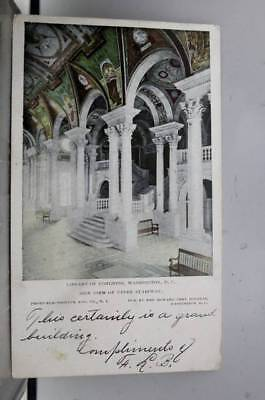 Washington DC Library of Congress Upper Stairway Postcard Old Vintage Card View