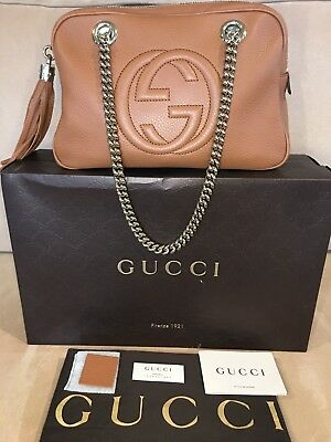 8e3e437977d2a NEW Authentic GUCCI Pebbled Leather Small Soho Shoulder Bag Dusty Blush