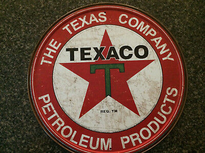 TEXACO PETROLEUM PRODUCTS Round Tin Sign