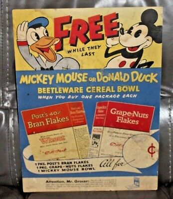 1930's MICKEY MOUSE DONALD DUCK POST CEREAL BEETLEWARE DISPLAY SIGN DISNEY
