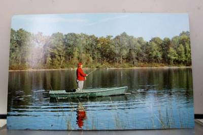 Scenic Fishing From Boat Postcard Old Vintage Card View Standard Souvenir Postal