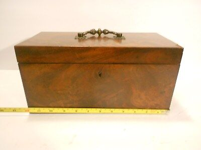 1830Antique English Tea Caddy Box Flame Mahogany Hinged 2 Compartments Inside