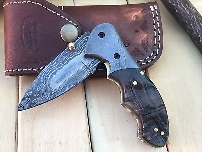 "HUNTEX Custom Handmade Damascus 4"" Long Ram Horn Hunting Folding Pocket Knife"