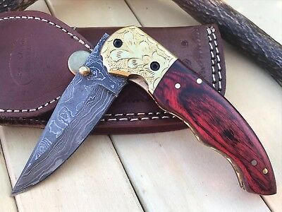 "HUNTEX Custom Handmade Damascus 4.5"" Long PakkaWood Hunting Folding Pocket Knife"