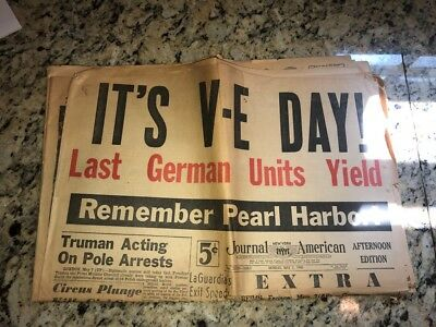"5/7 1945 New York Journal American V-E Day ""Remember Pearl Harbor"""