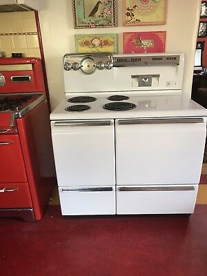 Vintage 1950s 1960s Mid Century GE Electric Stove Double Oven 11408-2L2-15-8