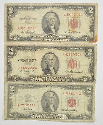Lot (3) Red Seal $2.00 US 1953 or 1963 Notes - Currency Collection *293