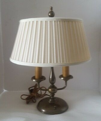 Antique Brass Bouillotte Lamp 2 Arm Candlestick Aged Patina French Empire Style