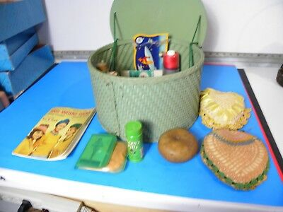 Vintage Sewing Basket Box w/ Contents