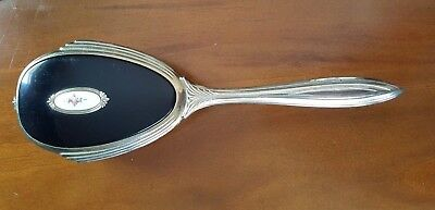 Vintage Antique Hollywood Victorian Style Hair Brush Art Deco Rose Inlay Black