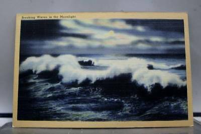 Scenic Breaking Waves Moonlight Postcard Old Vintage Card View Standard Souvenir