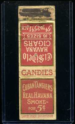 Early DIAMOND MATCH APPROVED No. 7  Cigars MATCHBOOK COVER WW1