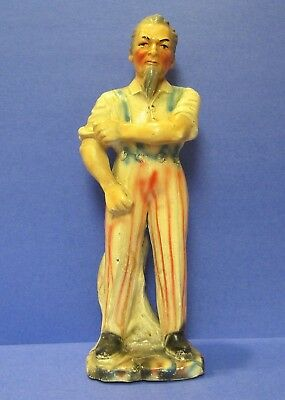 """VINTAGE PATRIOTIC CARNIVAL CHALKWARE PRIZE, 1940's UNCLE SAM STATUE..15"""" TALL"""
