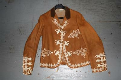 Vintage Mexican Leather Mariachi Jacket, Size 38, Good Condition