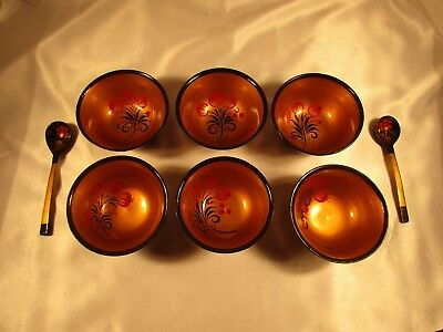 6 Hand Painted Wooden Lacquerware Black/Red/Gold Bowls & 2 Spoons: Pomegranate