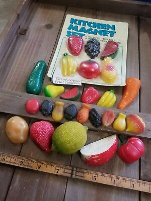Vintage Refridgerator Magnets Fruit  Vegetables Lot 26 Realistic Molded Fridge