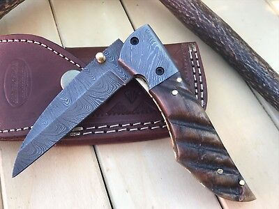 "HUNTEX Custom Handmade Damascus 4.5"" Long Ram Horn Hunting Folding Pocket Knife"