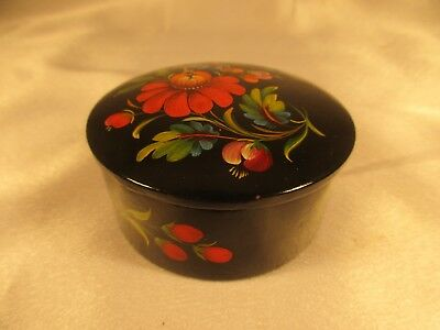 Vintage Japanese Round Lacquer Black Trinket Box hand-painted with Cover,Signed