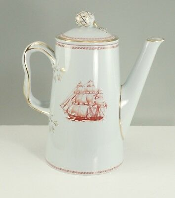 Spode England China TRADE WINDS RED With Gold Trim Coffee Pot With Lid
