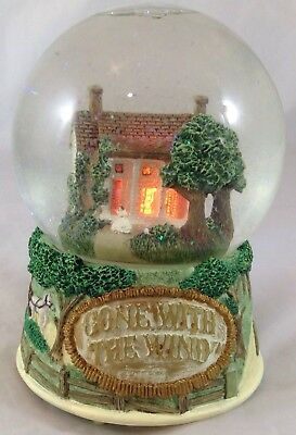 "1995 Gone With The Wind Musical Snow Globe Plays ""Tara's Theme"" House Lights Up"