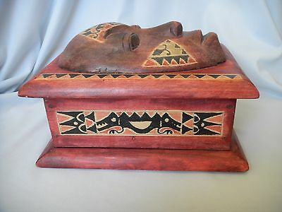 Hand Carved Face and Painted Wooden Box from Tubai