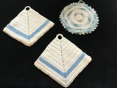 Lot of 3 Vintage Light Blue and White Crochet Hot pad  / Pot holders (L86)