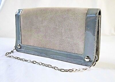 VINTAGE 90 S ARMANI Exchange Grey Patent Leather   Suede Clutch Bag ... b806162d8518d