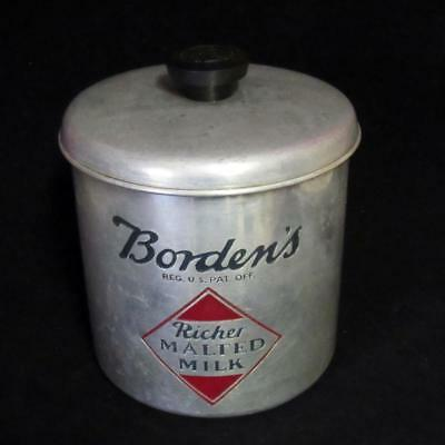 Vtg Bordens Malted Milk Embossed Aluminum Canister Container Can W/ Lid