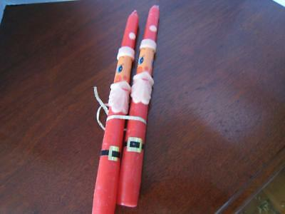 Vintage Pair 1960's Santa Claus Novelty Christmas Taper Candles 10 in.